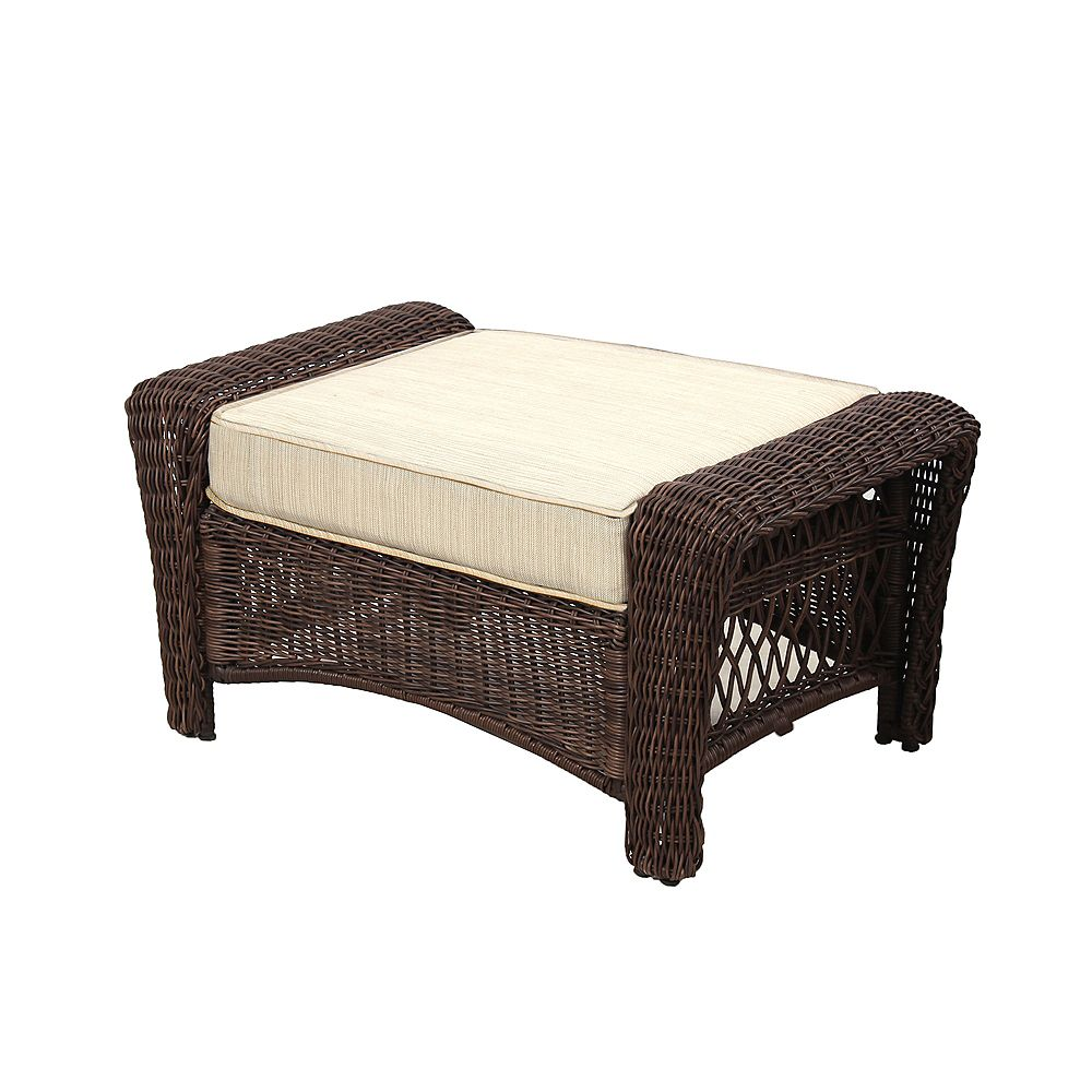 Hampton Bay Park Meadows Brown Wicker Ottoman w/ Beige Cushion