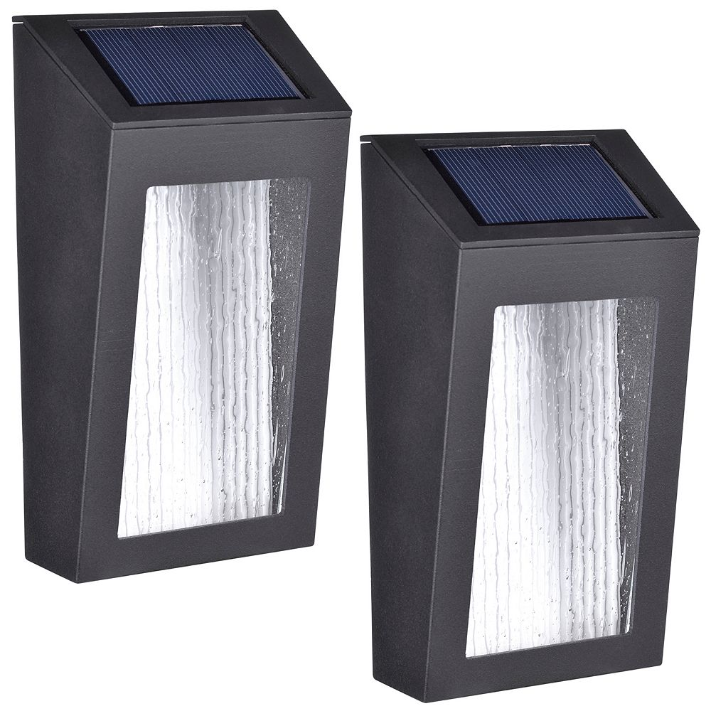 Paradise Set of 2 solar LED accent lights with rectangular design and seeded glass lenses