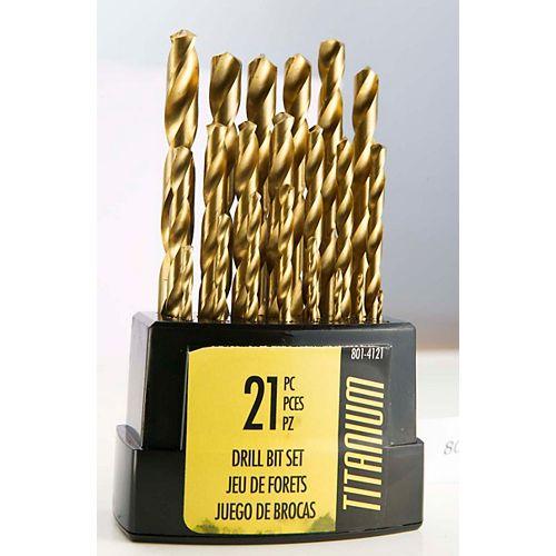 21-Piece Titanium Drill Bit Set