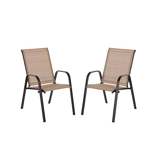 Plymouth Brown Stackable Sling Patio Dining Chair in Cafe (2-Pack)