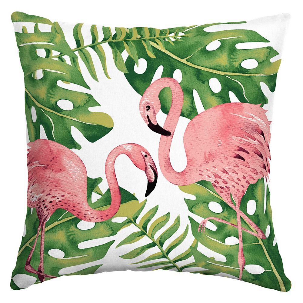 Hampton Bay Sublime Flamingo Square Throw Pillow