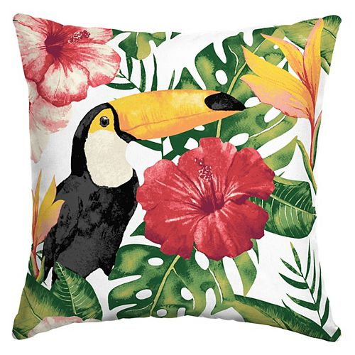 Tropical Toucan Square Throw Pillow