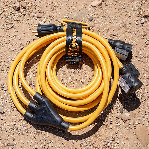 Heavy Duty TT-30P to (3)5-20R Portable Generator Power Cord With Storage Strap