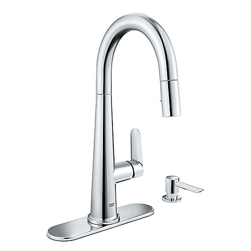 Veletto Single-Handle Pull-Down Spray Kitchen Faucet in Chrome finish