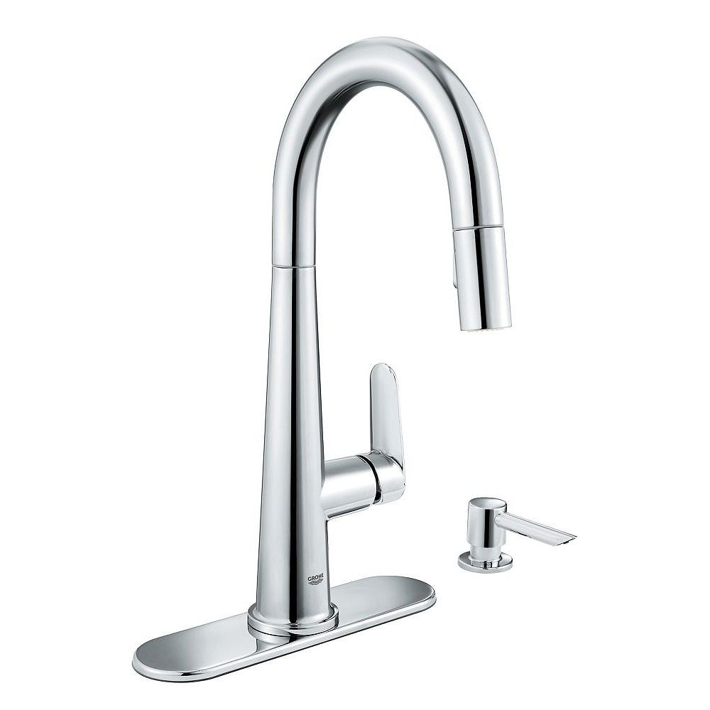 GROHE Veletto Single-Handle Pull-Down Spray Kitchen Faucet in Chrome finish