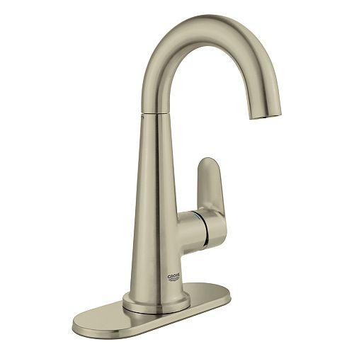 Veletto 4 pouces Centerset Robinet de salle de bains à poignée unique InfinityFinish en nickel brossé