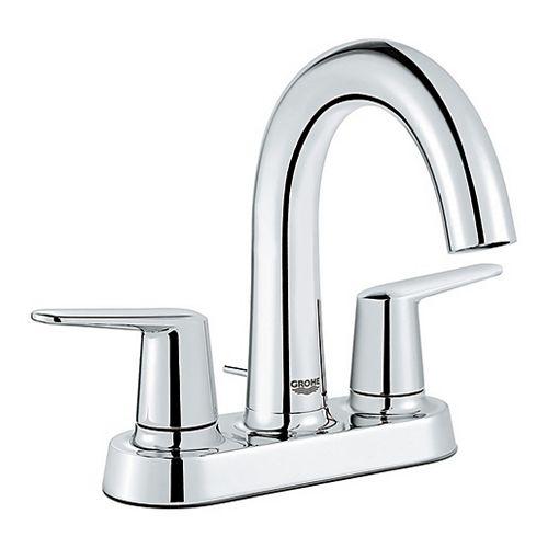 Robinet de salle de bains Veletto 4 pouces Centerset à deux poignées et bec haut en finition chromée