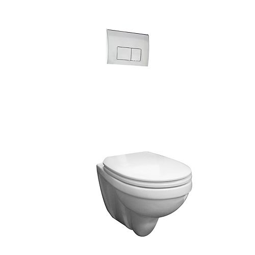 Concealed tank wall hung dual flush toilet with chrome push button