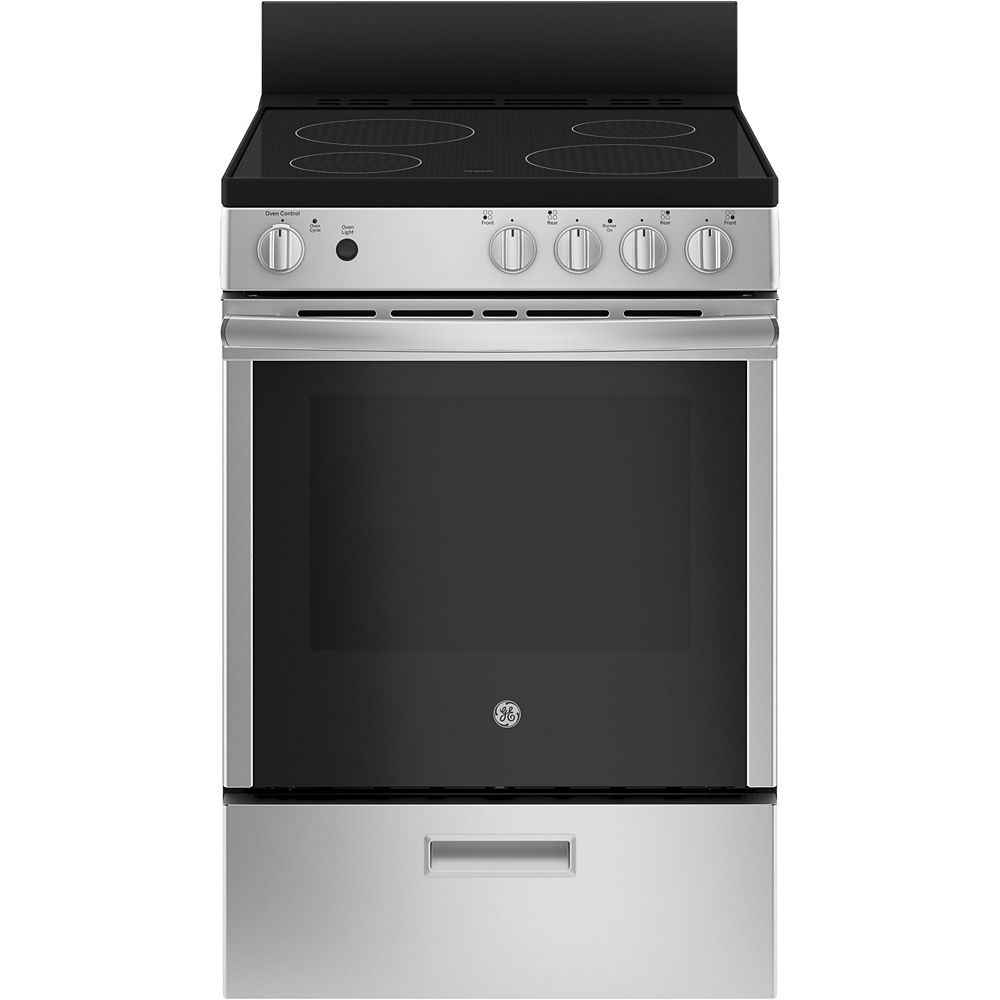 GE 24-inch 2.9 cu.ft Single Oven Electric Range Oven with Steam Cleaning in Stainless Steel