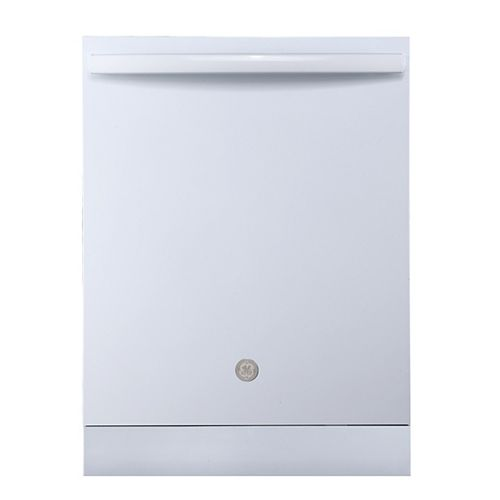 GE 24-inch Top Control Built-In Tall Tub Dishwasher in White with Stainless Steel Tub