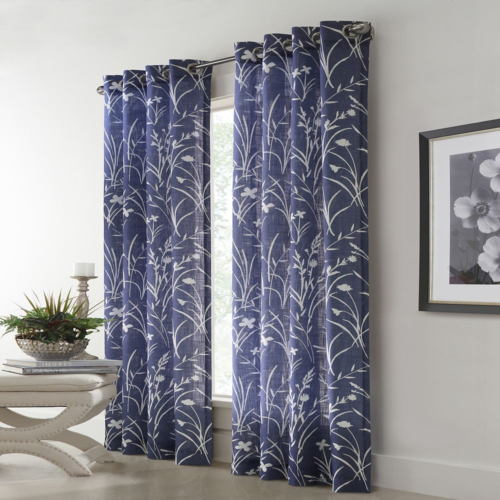 Home Decorators Collection Westport Floral Faux Linen Light Filtering Grommet 52x95 Blue