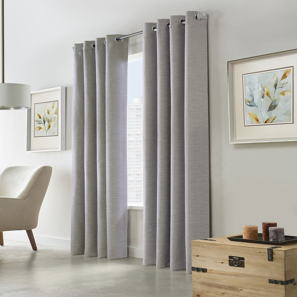 """Home Decorators Collection Blake Room Darkening Grommet Curtain Panel - 52"""" W x 108"""" L in Silver"""