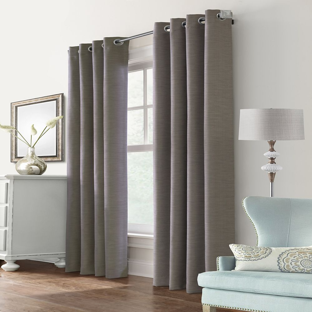 """Home Decorators Collection Blake Room Darkening Grommet Curtain Panel - 52"""" W x 95"""" L in Taupe"""