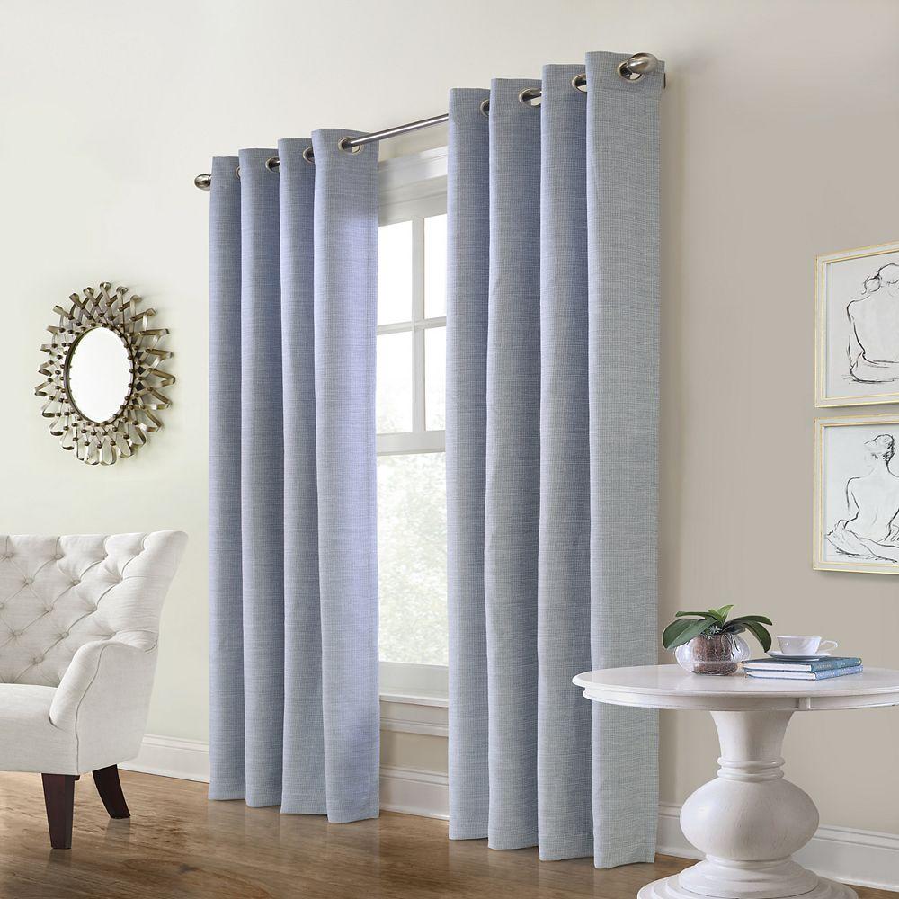 "Home Decorators Collection Carnavon Room Darkening Grommet Curtain Panel - 52"" W x 95"" L in Blue"