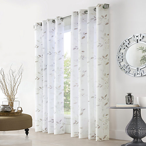Elgin Sheer Grommet Curtain 52 inches width x 63 inches length, White
