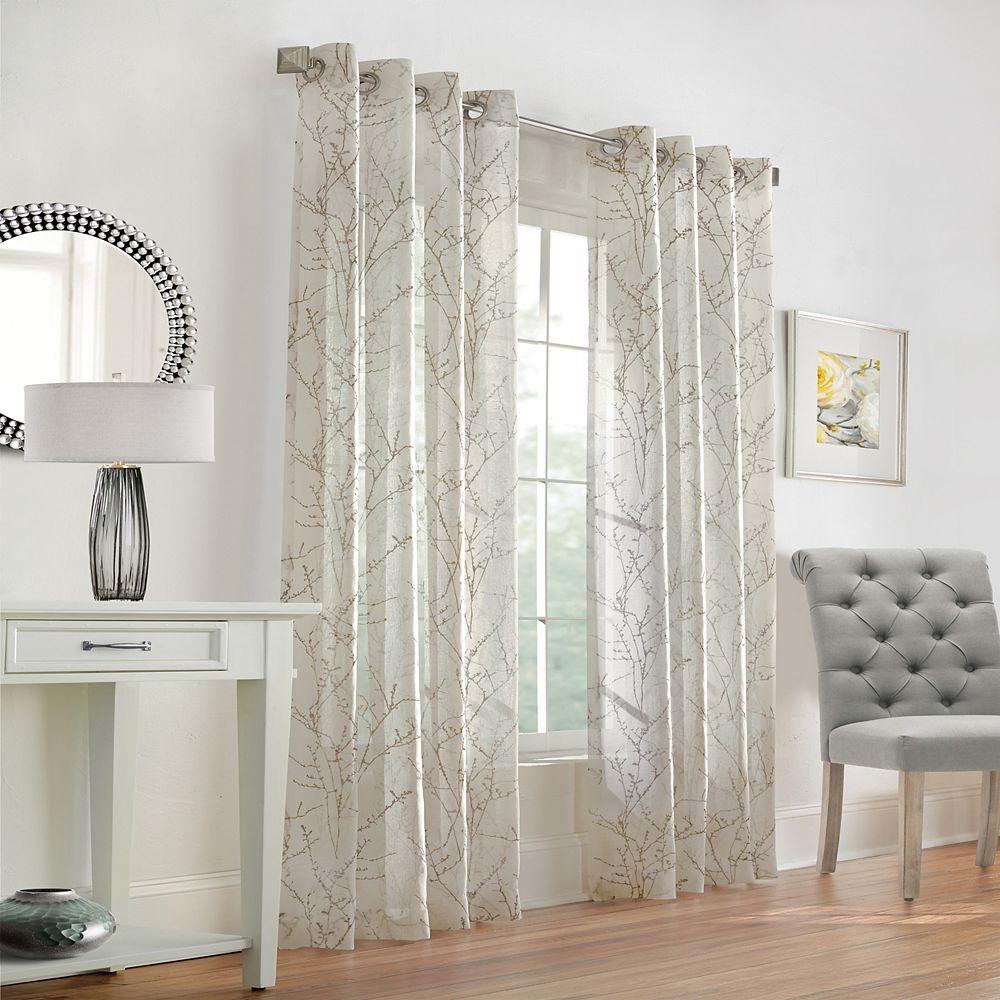 Home Decorators Collection Willow Rideau à Oeillets Diaphane 52 pouces largeur X 95 pouces longueur, Taupe