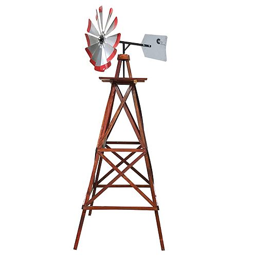 Small Galvanized Ornamental  Windmill with Red Tips
