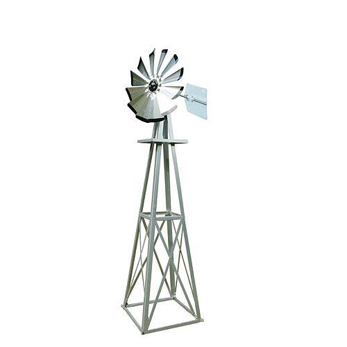 Small Galvanized Ornamental  Windmill with Black Tips