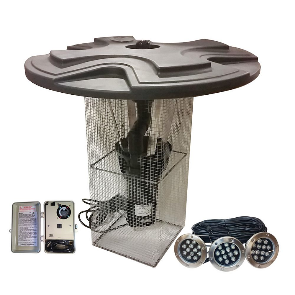 Outdoor Water Solutions 1 HP Floating Pond Fountain Eco Line with LED lights & 100 ft. power cord