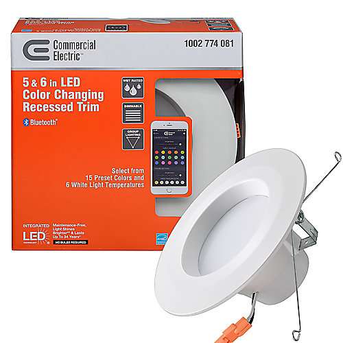 Bluetooth 5-inch / 6-inch Selectable Integrated LED Recessed Trim Downlight with 21 Color Changes 670 Lumens Dimmable
