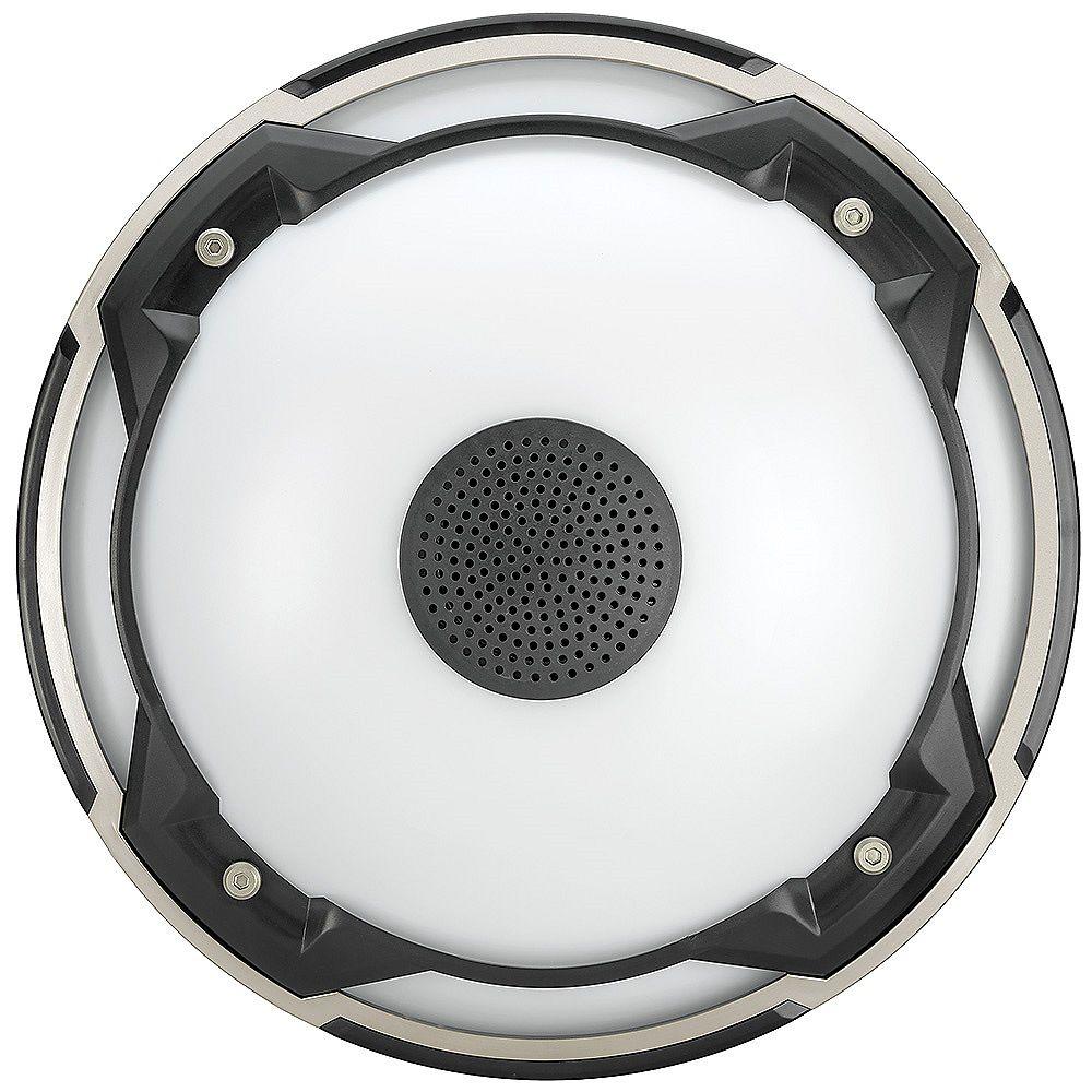 Commercial Electric Spin Light 11-inch Heavy Duty LED Flush Mount Ceiling Light with Bluetooth Speaker 1000 Lumens 4000K Audio Range 33 ft.