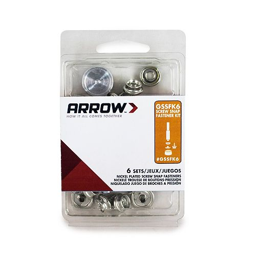 Arrow GSSFK6 Screw and Snap Fastener Kit