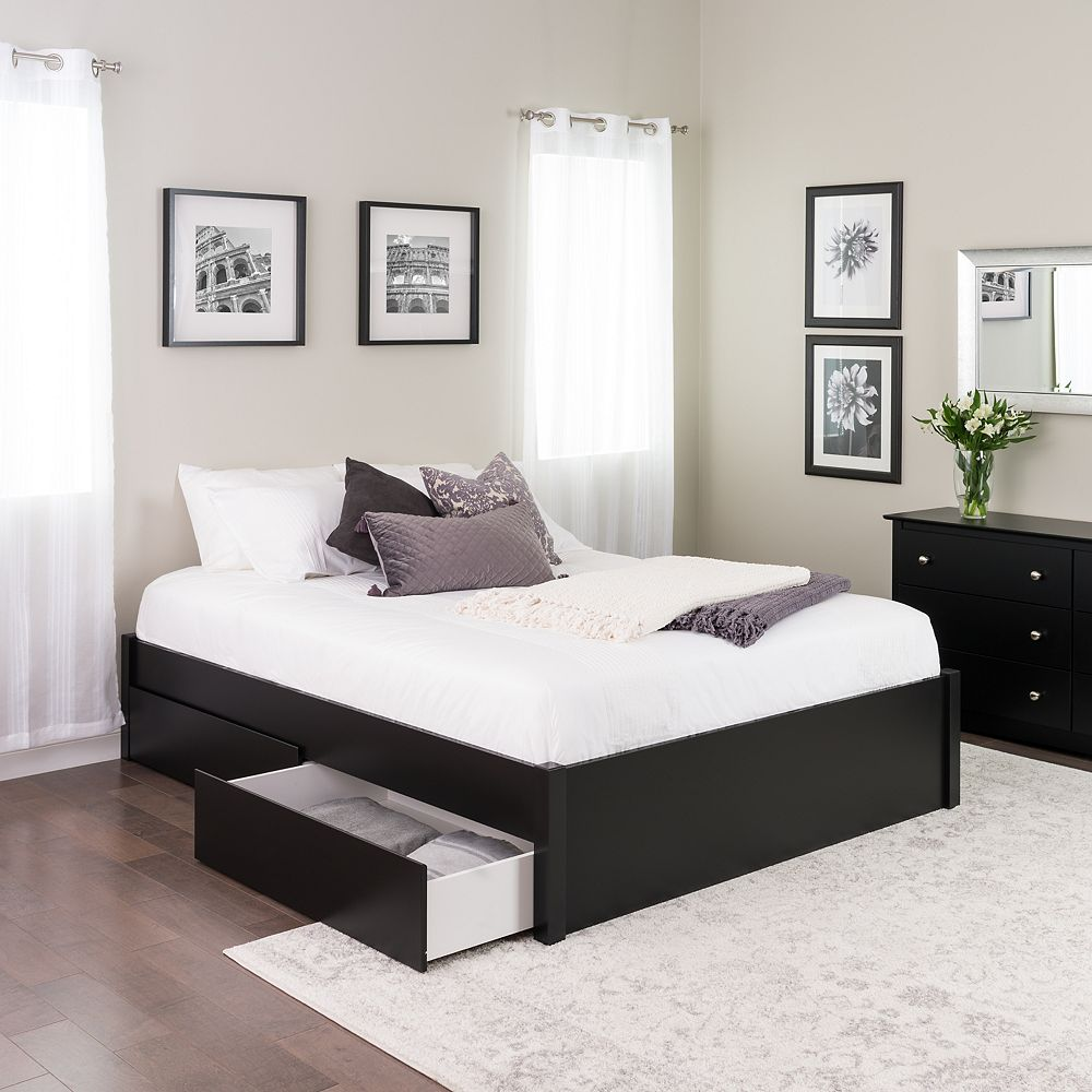 Queen Select 112-Post Platform Bed with 12 Drawers - Black