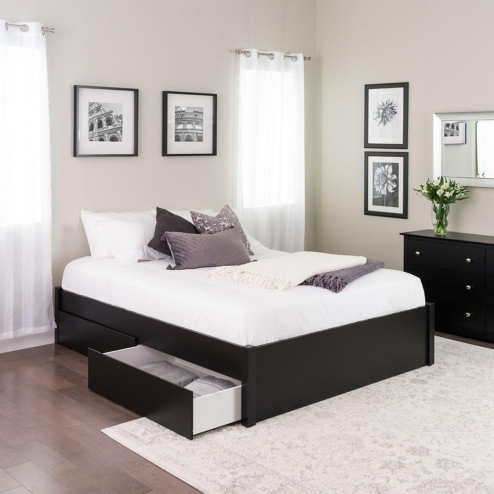 Prepac Base de grand lit plateforme avec quatre tiroirs -  noir