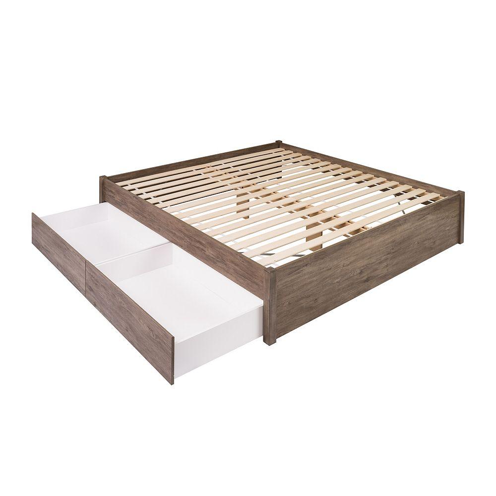 Prepac Base de très grand lit plateforme avec deuxtiroirs -  gris vieilli