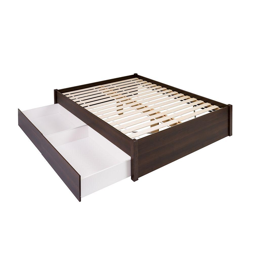 Prepac Base de grand lit plateforme avec deux tiroirs -  espresso