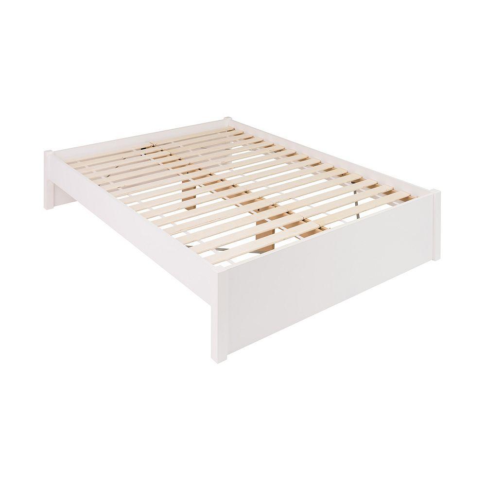 Prepac Base de grand lit plateforme à colonnes Select -  blanc