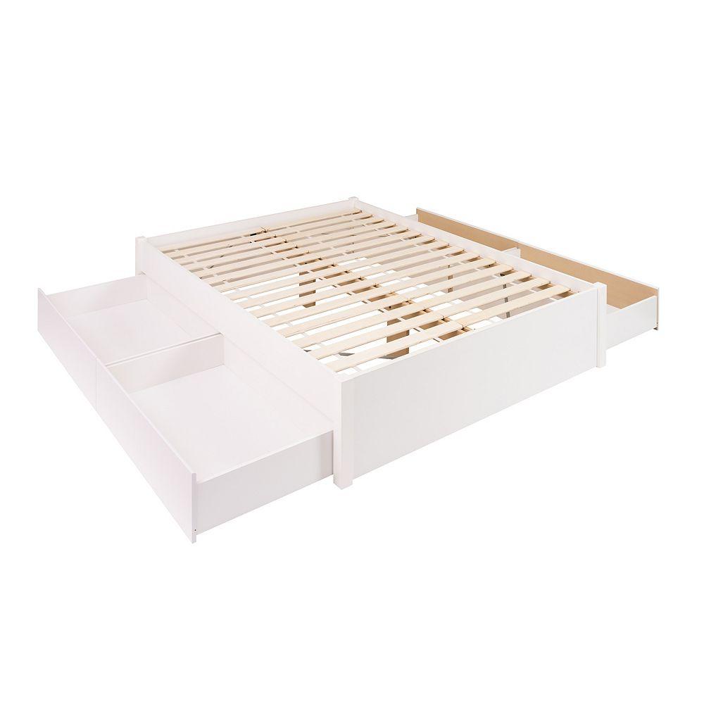 Prepac Base de grand lit plateforme avec quatre tiroirs -  blanc