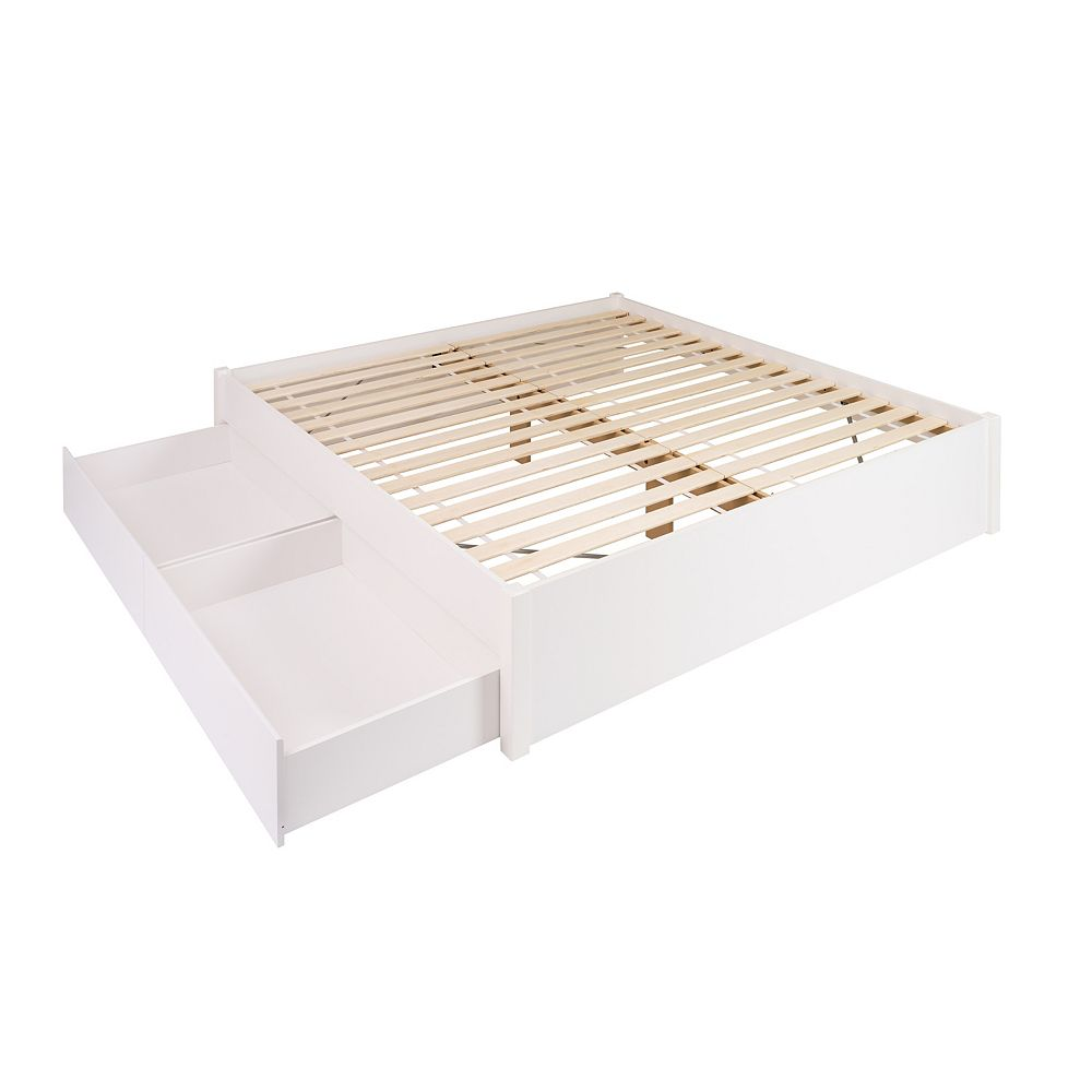 Prepac King Select 4-Post Platform Bed with 2 Drawers -  White
