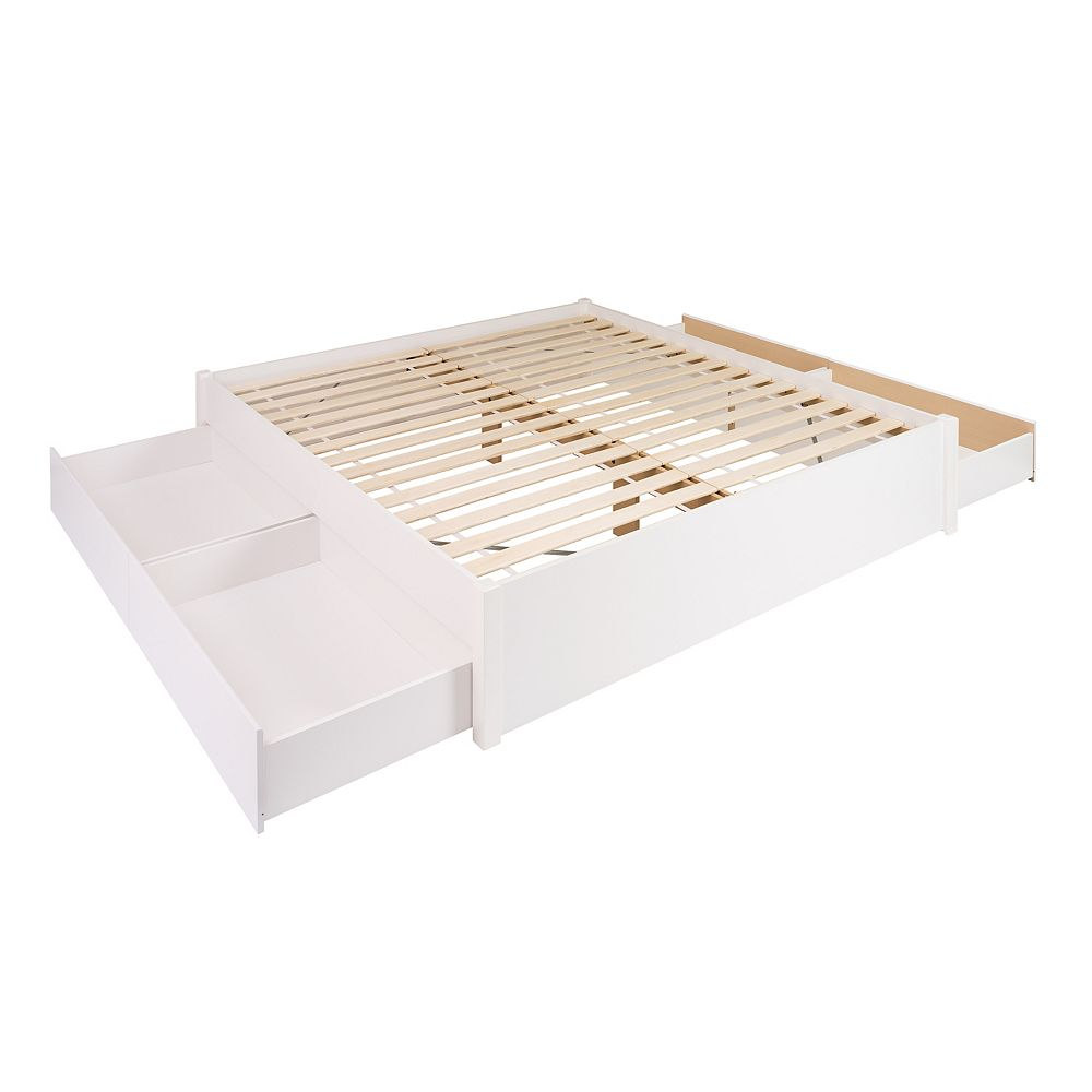 Prepac King Select 4-Post Platform Bed with 4 Drawers -  White