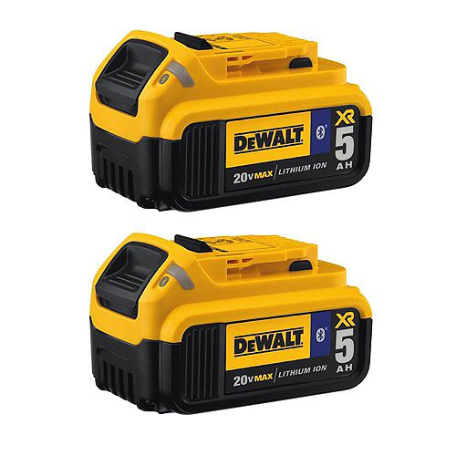 20V MAX XR Lithium-Ion Premium Battery Pack 5.0Ah with Bluetooth Connectivity (2-Pack)