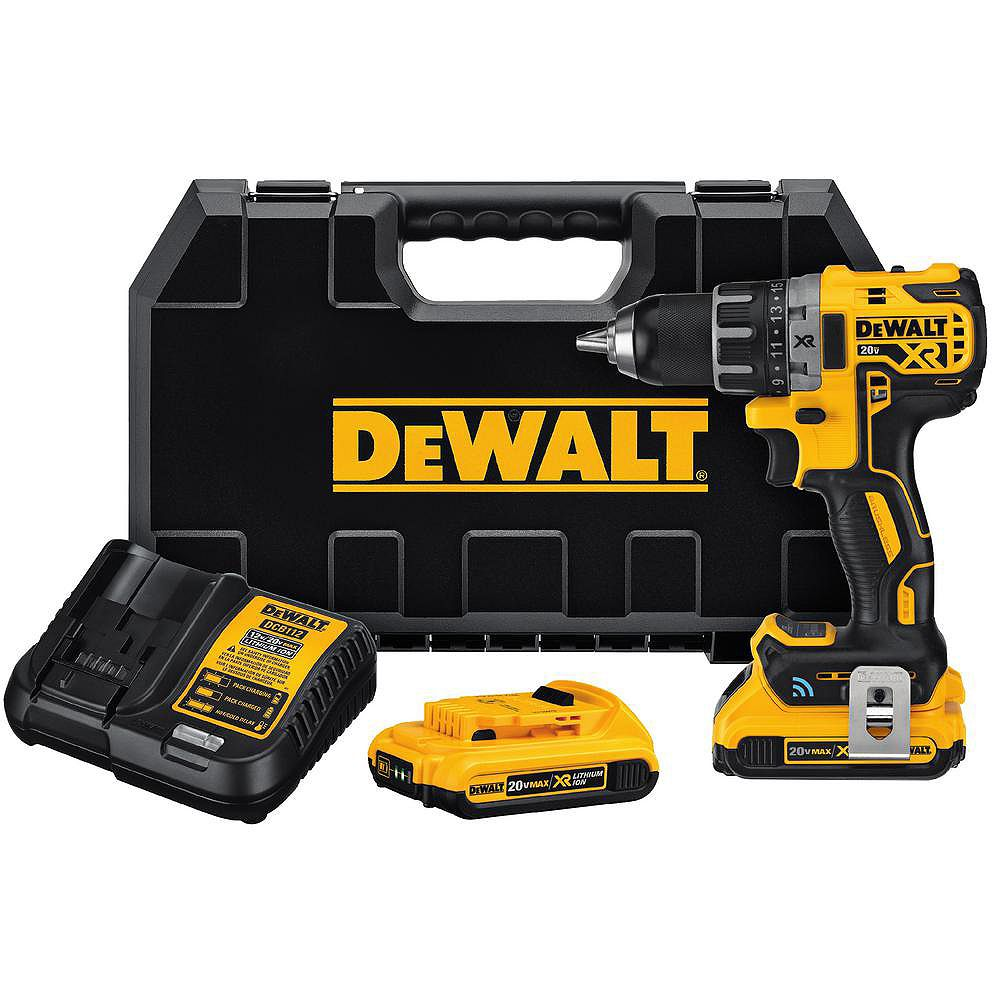 DEWALT 20V MAX XR Compact Tool Connect 1/2-inch Drill/Driver 2.0 Ah with 2 Batteries, Charger and Kit Box