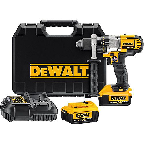 DEWALT 20V MAX Lithium-Ion Cordless 1/2-inch Premium 3-Speed Drill/Driver Kit with (2) Batteries 4Ah, Charger and Case