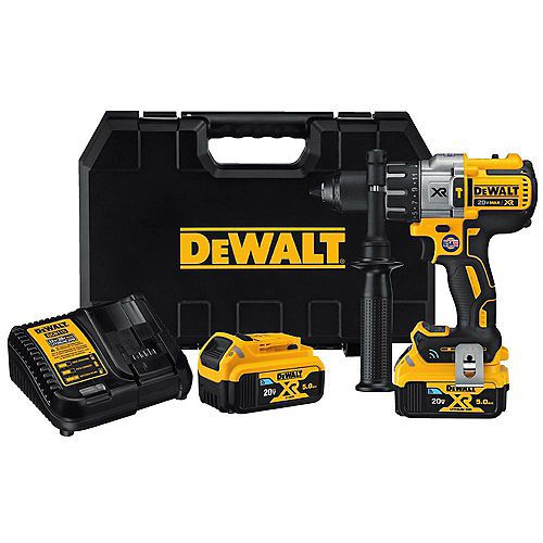 20V MAX XR with Tool Connect Premium Brushless Lithium Ion Hammer Drill/Driver with (2) 5Ah Batteries,Charger & Case