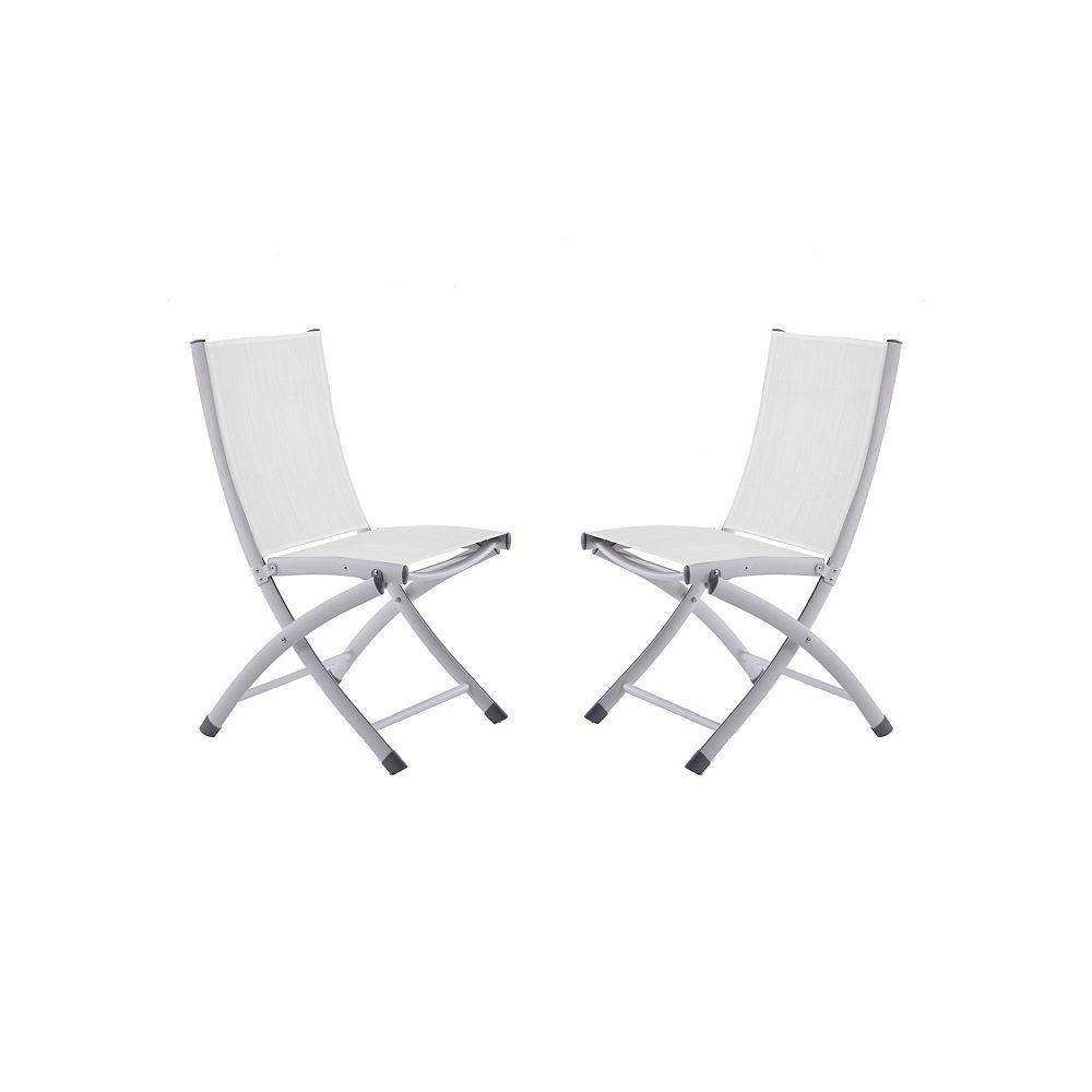 Vivere Bachelor Aluminum Folding Sling Chair - White