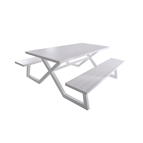 Banquet Deluxe 8-Seat Aluminum Picnic Table, White