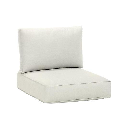 Coussin de jardin pour fauteuil sectionnel de milieu, toile Sunbrella blanche, qualité commerciale