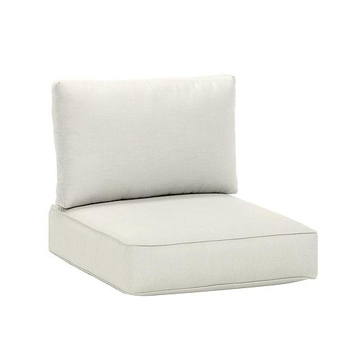 Commercial Sunbrella Canvas White Armless Middle Outdoor Patio Sectional Chair Cushion
