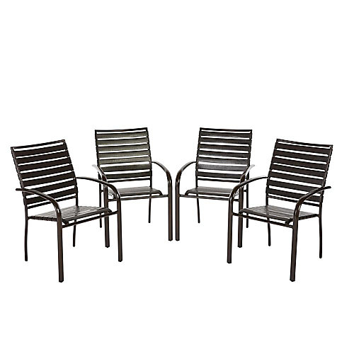 Commercial Aluminum Outdoor Dining Chair in Brown (4-Pack)