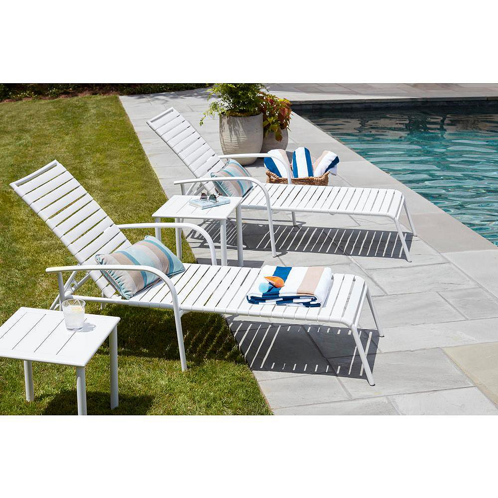 Hampton Bay Sterling White Commercial Grade Aluminum with PVC Strap Outdoor Patio Chaise Lounge (4-Pack)