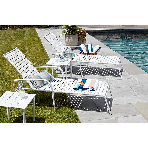 Sterling White Commercial Grade Aluminum with PVC Strap Outdoor Patio Chaise Lounge (4-Pack)