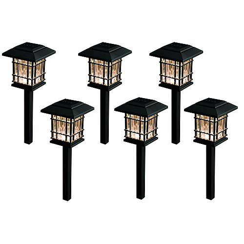 8 Lumen Solar LED Black Landscape Pathway Light (6-Pack)