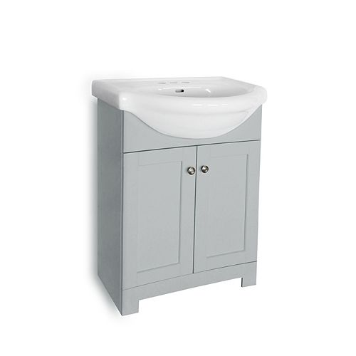 Clancey 24-inch Vanity in Grey with White Basin