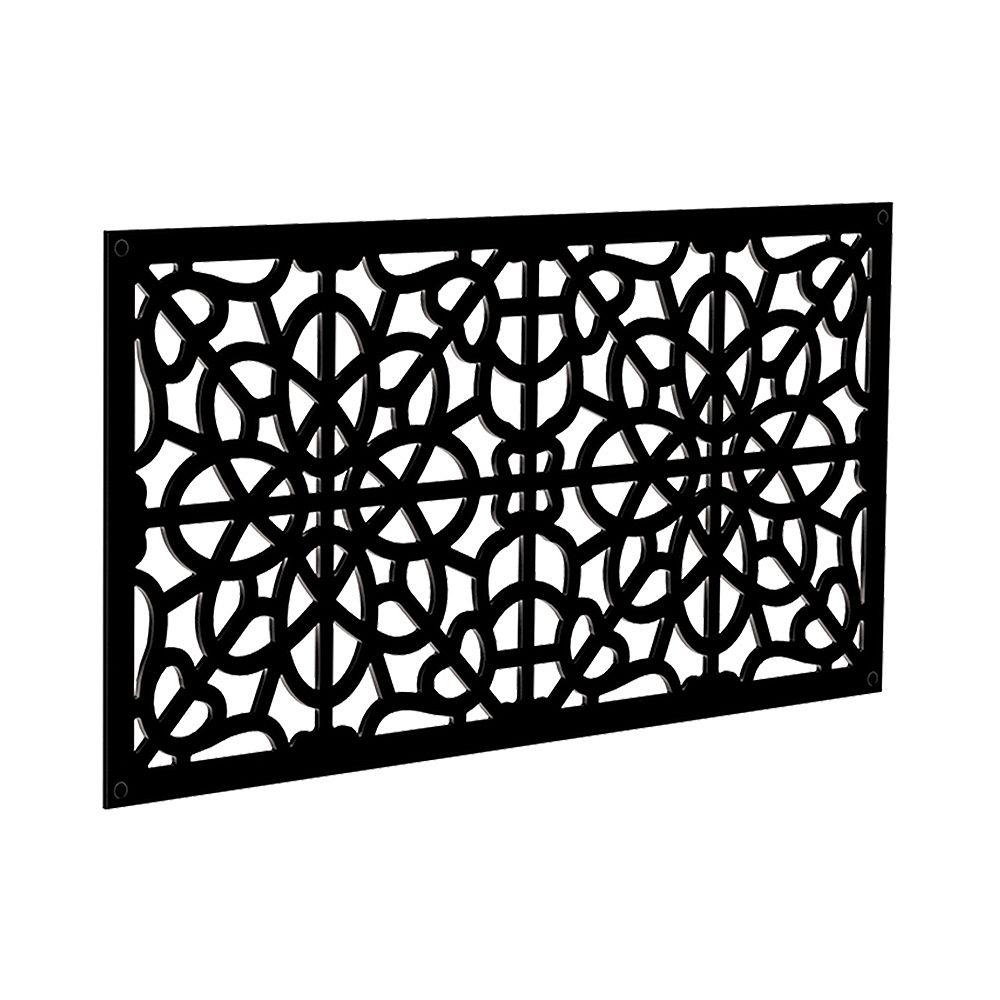 Barrette Fretwork 2 ft. x 4 ft. Decorative Screen Panel in Black