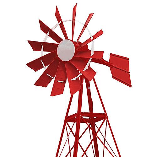 20 pi Moulin à vent d'aération enduit de poudre rouge et blanche