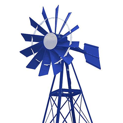 20 pi Moulin à vent d'aération enduit de poudre bleue et blanche